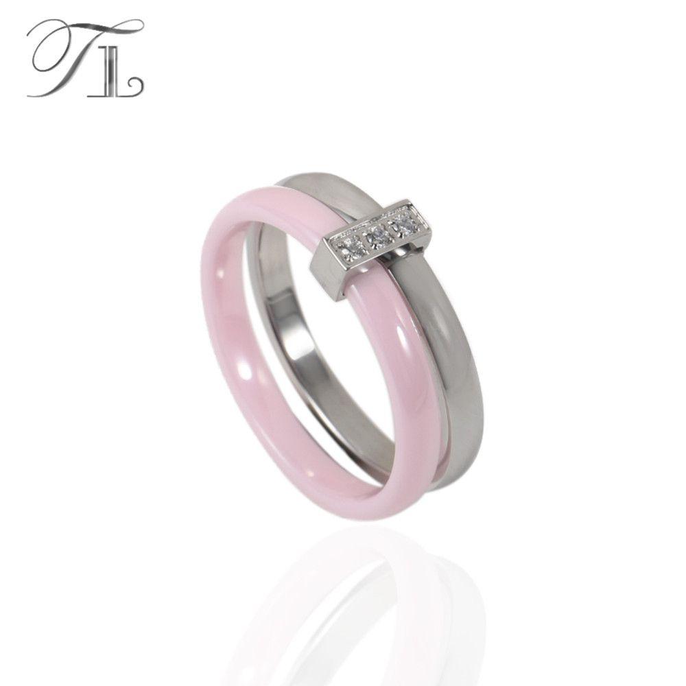TL Rosa Keramik Ring Für Frauen Zwei Schichten Edelstahl Silber Eingelegte Zirkon Dünne Ringe Einzigartige Design Hochzeit Verlobungsringe