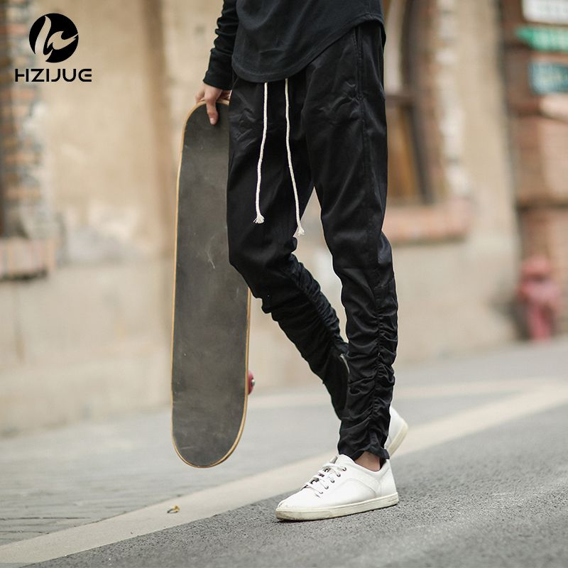 HZIJUE 2017 New Arrival men Pants Rubber elastic pants feet zipper casual pants Overalls Beam foot trousers