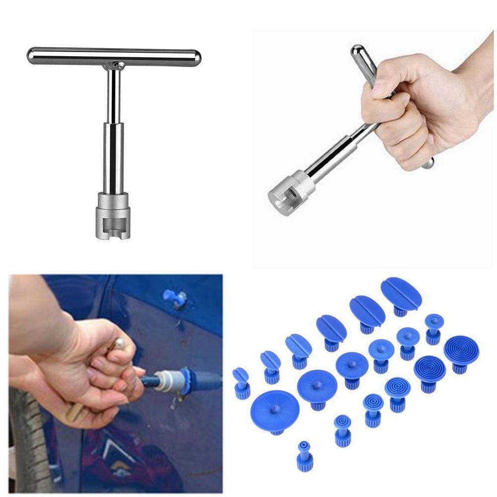 Kit d'extracteur de Dent de marteau de glissière Kit de retrait de grêle de réparation de Dent sans peinture de voiture avec 18 onglets de traction pour l'outil de réparation de carrosserie automatique