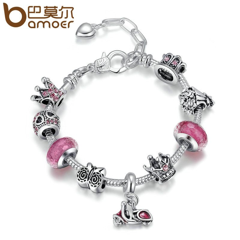 BAMOER Silver Color Motorcycle Love Story Pink Glass Beads Crown Lobster Clasp Adjustable Women Charm Bracelets Jewelry PA1920
