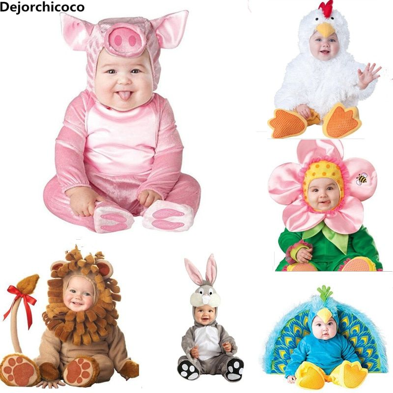 2018 New Fashion Baby Halloween Rompers Cute Animal Cosplay Boys Jumpsuits Pink Pig Girls Shape Baby Costumes Infants Clothes