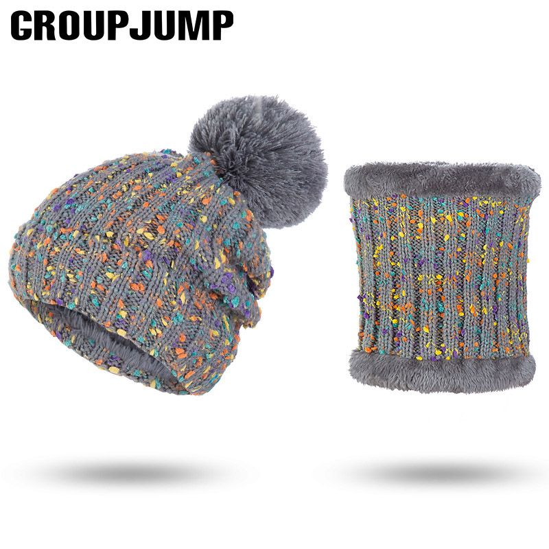 2 Pieces Set Winter Hat Scarf For Women Hat&Scarf Pom Pom Beanies Knitted Scarf Winter Female Thick Hat And Scarf Set