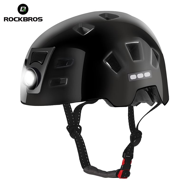 ROCKBROS Bike Headlamp Cycling Helmet Integrally-molded Bicycle Light Helmet Sports Safety MTB Bike Cap Helmet For Men Women