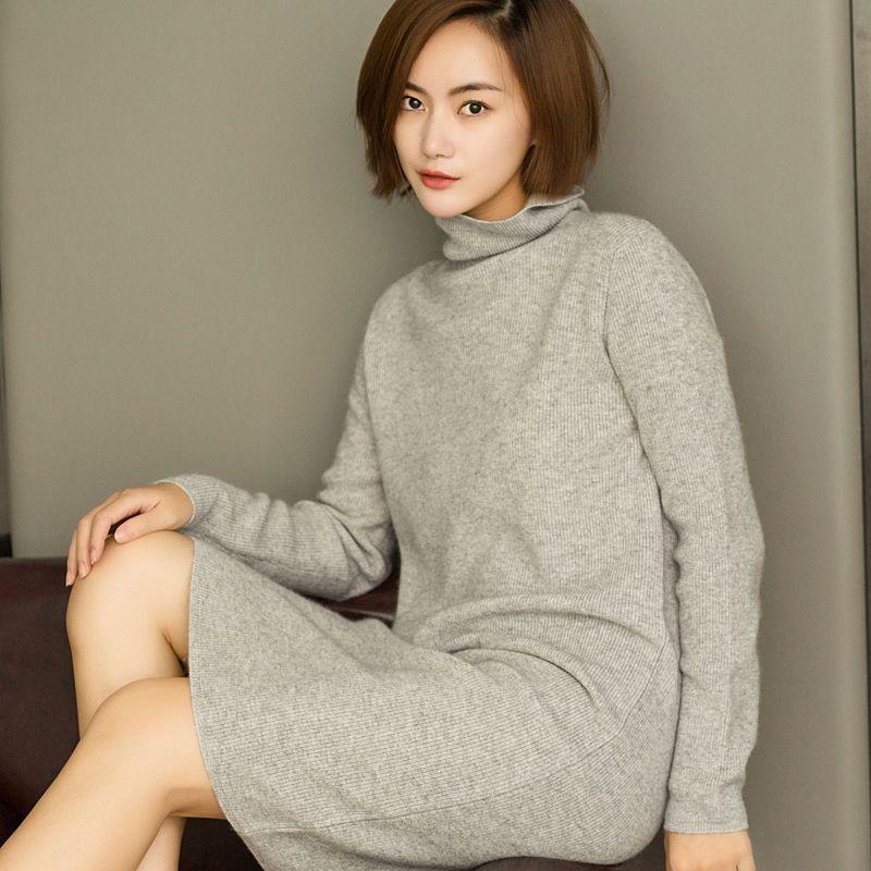 Новинка 2017 100% чистый кашемировый свитер женские мягкие удобные Высокий воротник с лацканами свитер платье Модные женские длинные пуловер