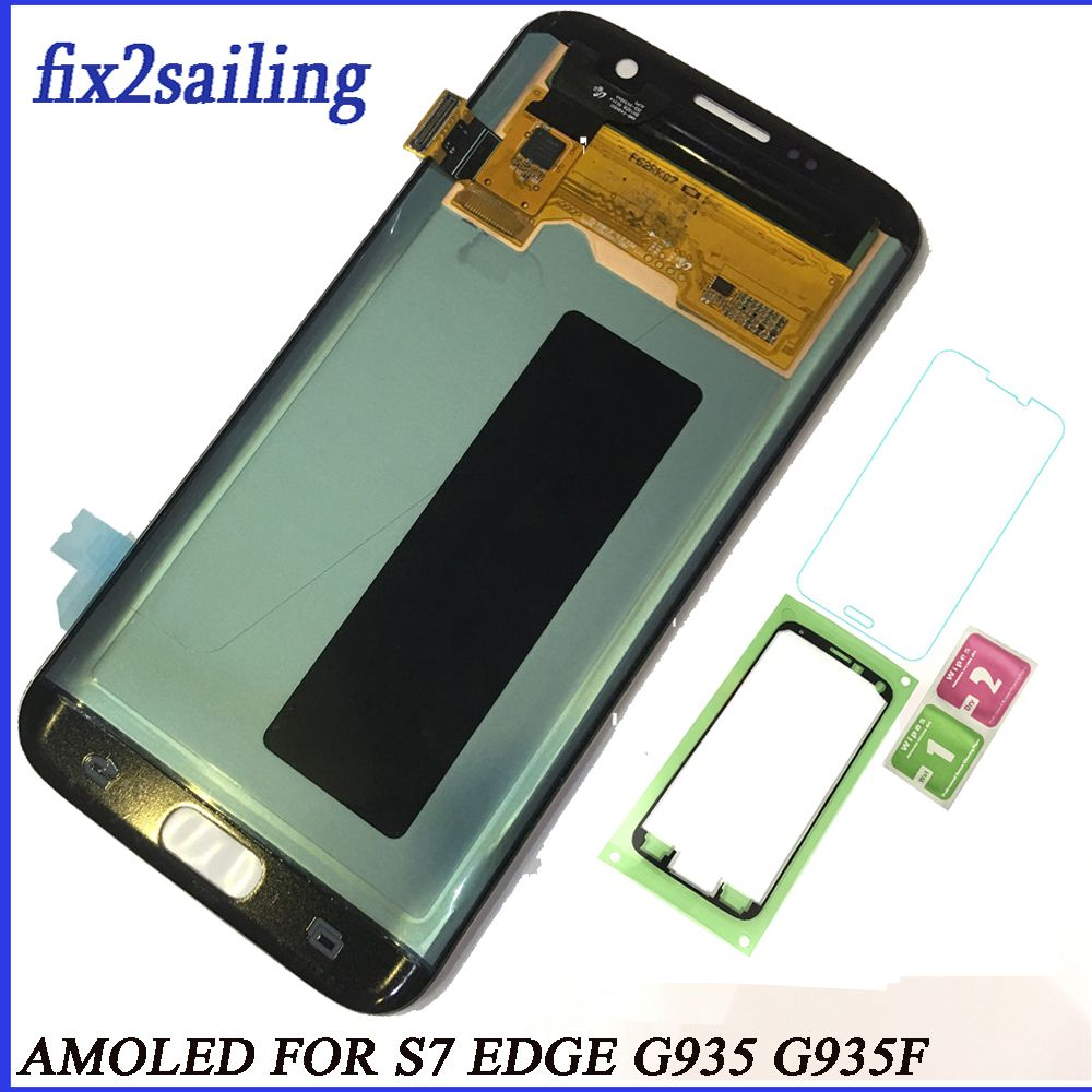Super AMOLED Lcd display Für Samsung Galaxy S7 Rand display lcd G935F G935A G935FD G935P Bildschirm Ersatz Digitizer Montage