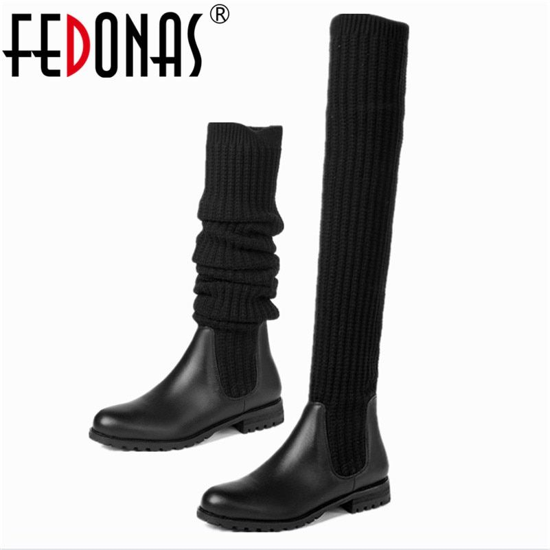 FEDONAS High Quality Genuine Leather+Stretch Fabrics Elastic Boots Tube Winter Snow Shoes Women Boots Over The Knee High Boots