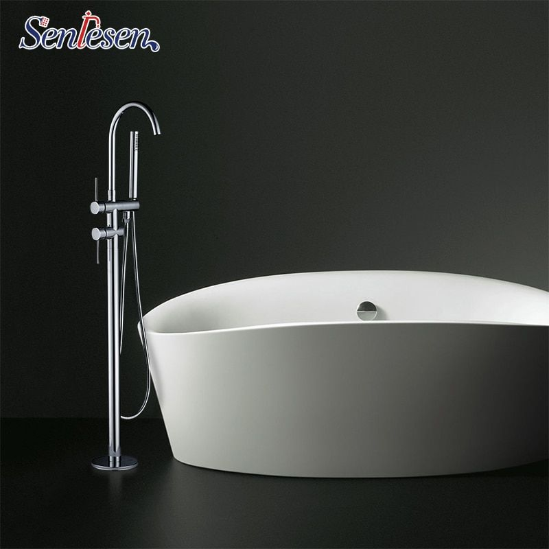 Senlesen Bathroom Free Standing Tub Faucet Single Handle Chrome Brass Cold and Hot Water Mixer Tap Para Bathtub Faucets