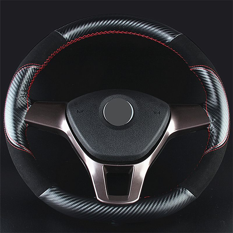 Free Shipping Top Quality 1pcs Suede Real Leather Car Steering Wheels Covers Universal Braiding On Steering-wheel Covers 36-40cm