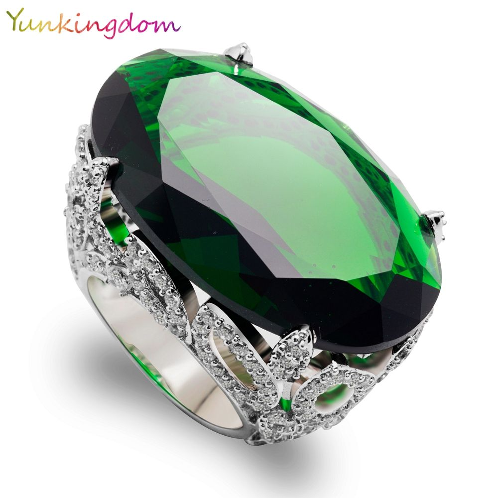 Yunkingdom Cut Ovale Vert Cubique Bijoux De Mariage Zircone Banquet Partie Anneaux Grande zircons Or Blanc Couleur Fine Anneau