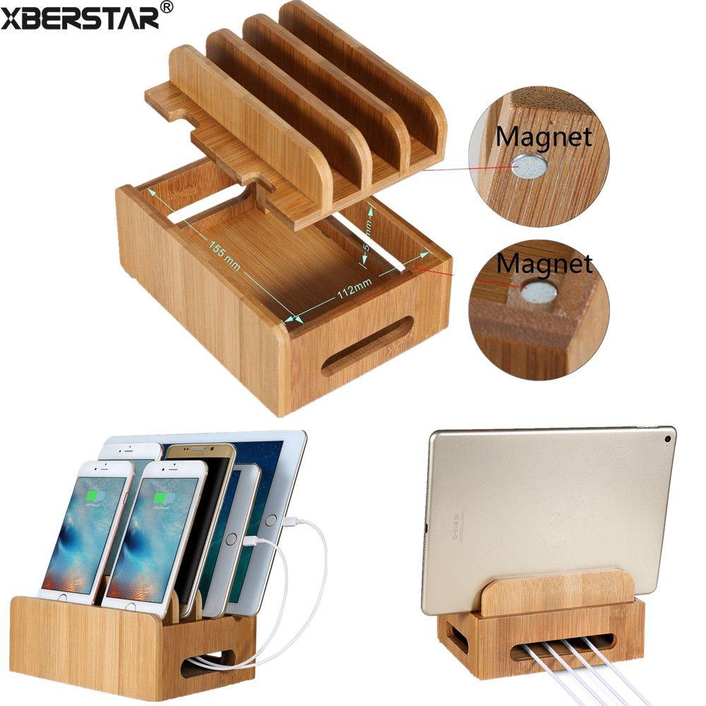 Support de Station de chargement de cordons multi-appareils en bambou pour téléphones intelligents et tablettes pour iphone pour téléphones Samsung Galaxy