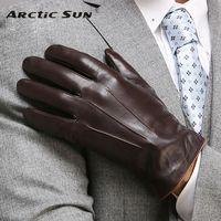 Одежда высшего качества из натуральной кожи перчатки для Для мужчин Термальность зима Сенсорный экран овчины перчатки Мода тонкое запясть...