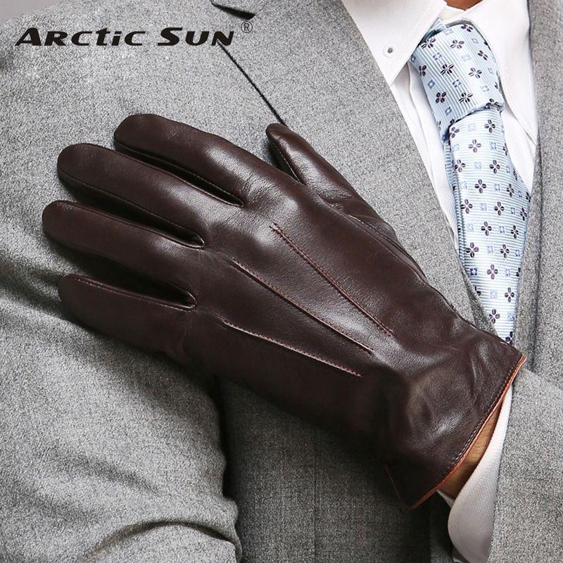 Qualité supérieure Gants En Cuir Véritable Pour Hommes Thermique Hiver Écran Tactile Gant En Peau De Mouton Mode Mince Poignet Conduite EM011