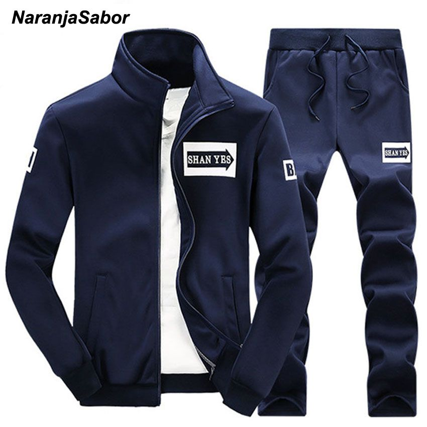 NaranjaSabor 2017 Spring Autumn Men's Clothing Sets Male Clothing Suit Casual Sweatshirts Pant Men Brand Clothing Sportswear 4XL