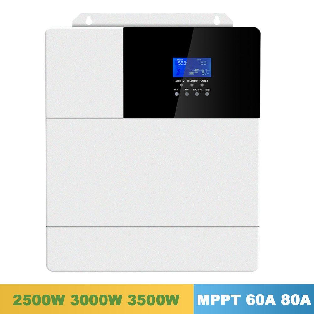60A 80A Alle In Einem Solar Ladung Inverter 2500 W 3000 W 3500 W SPWW Reine Sinus Welle MPPT 110 V 120 V 50Hz 60Hz Hybrid Solar Inverter
