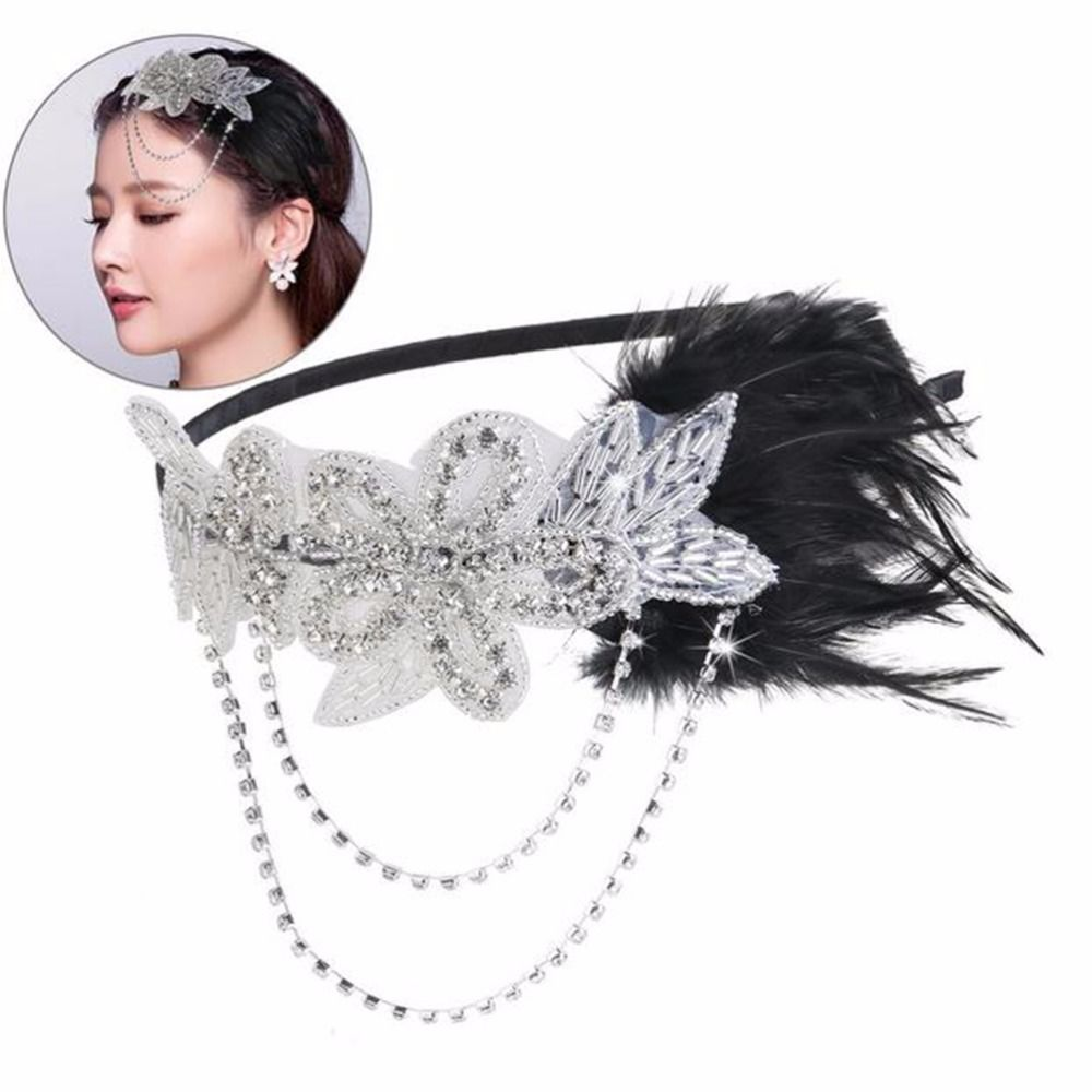 Womens Feather Hairband Silver crystal beaded sequined hair  bring century 20 s retro gatsby baffle black feather headdress