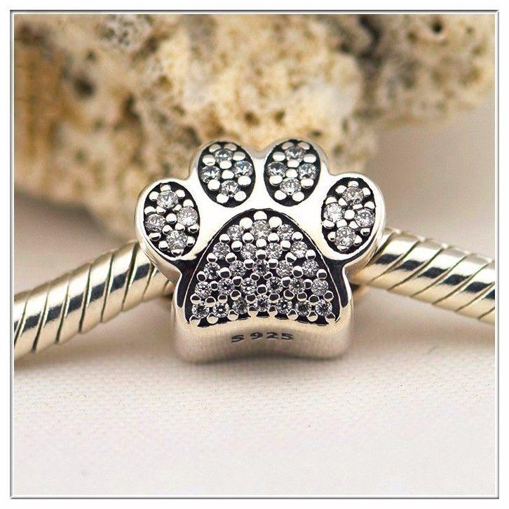 Convient au Bracelet Pandora femme patte de chien avec zircon cubique clair 100% 925 argent Sterling charmes originaux bricolage en gros