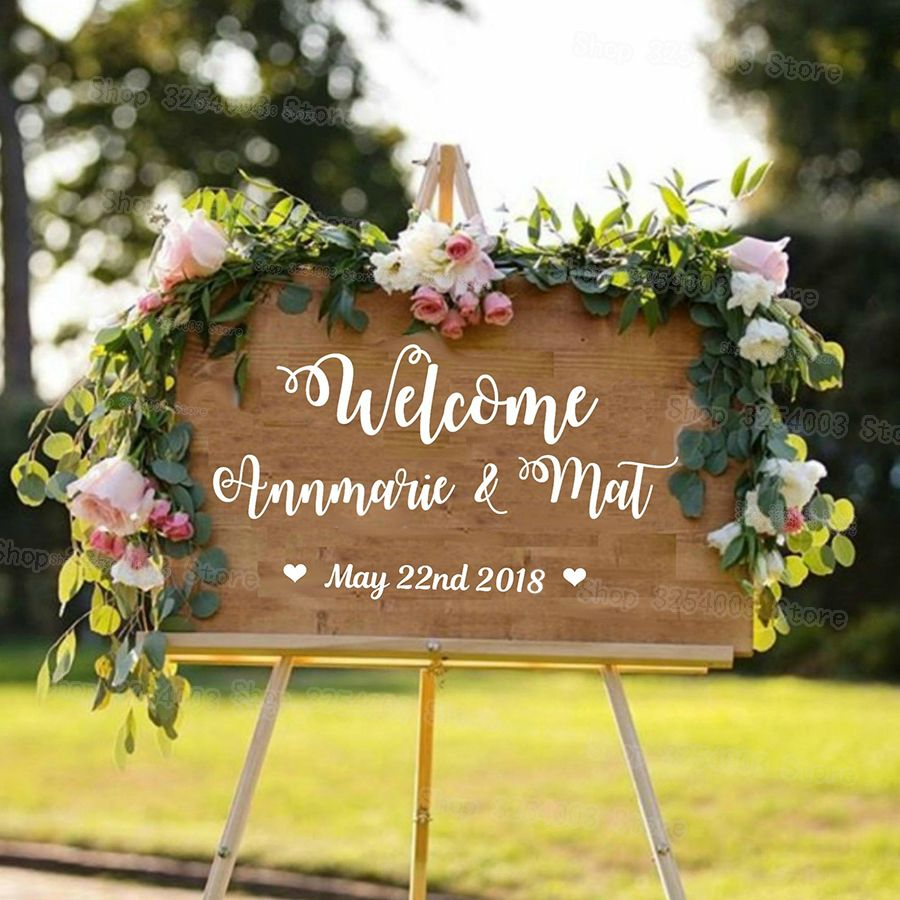 Personalised Wedding Welcome Sticker Sign Bride and Groom Names Wedding Date Customised Vinyl Sticker Decal New Arrival S430
