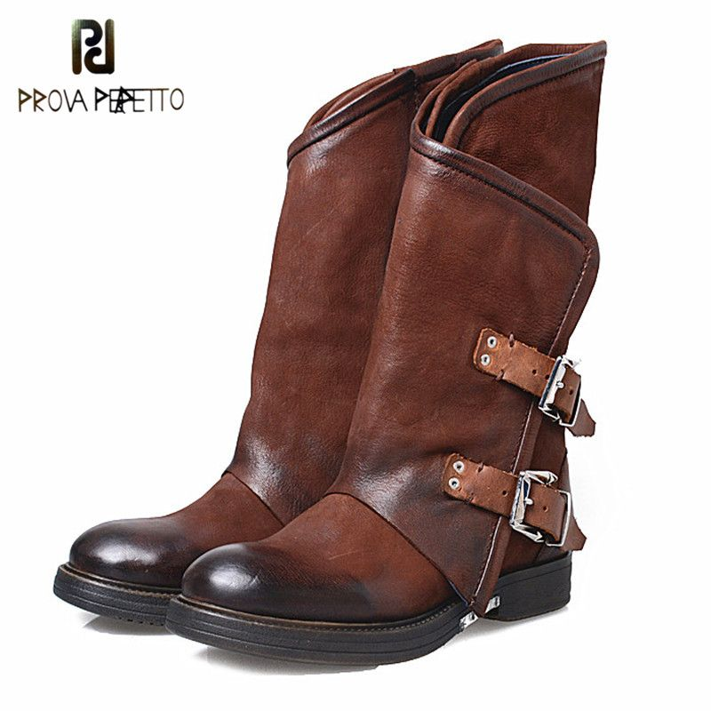 Prova Perfetto Euramerican Design Cow Genuine Leather Patchwork Woman Chelsea Boots Fashion Thickness Bottom Buckle Strap Boots