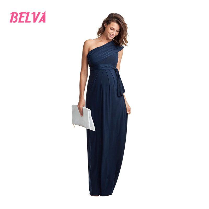 Белва Для женщин косой одно плечо длинные бамбуковые Волокно для беременных Платья для женщин вечерние платья беременности платье фотогра...