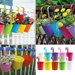 2018 Fashion Colorful Macetas Vertical Garden Planters Metal Flower Pots Hang Bucket Hanging Wall Pot De Fleur Home Decor S4709