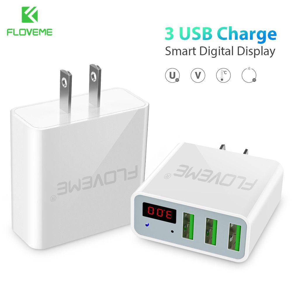 FLOVEME USB Chargeur Rapide Rapide De Charge 3 Ports LED Afficher UE/US Plug Max 5 v 2.4A Mobile Téléphone chargeur intelligent Pour iPhone Ordinateur Portable