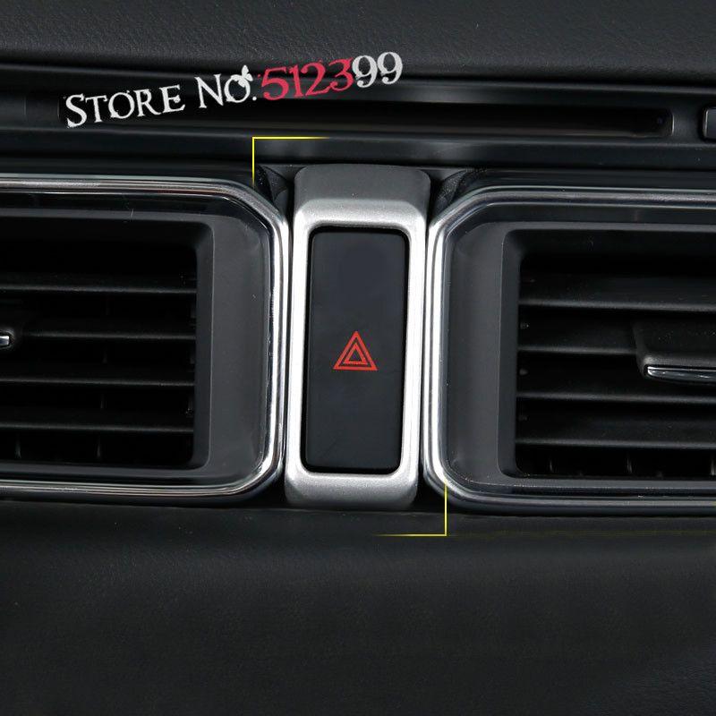 For Mazda CX-5 CX5 2nd Gen. 2017 2018 Accessories Interior ABS Danger Warning Alarm Flash Light Switch Cover Trim 1 piece
