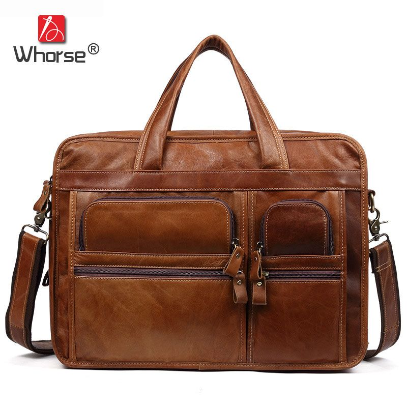 Brand Handmade Genuine Leather Business Briefcase Men Cowhide 14