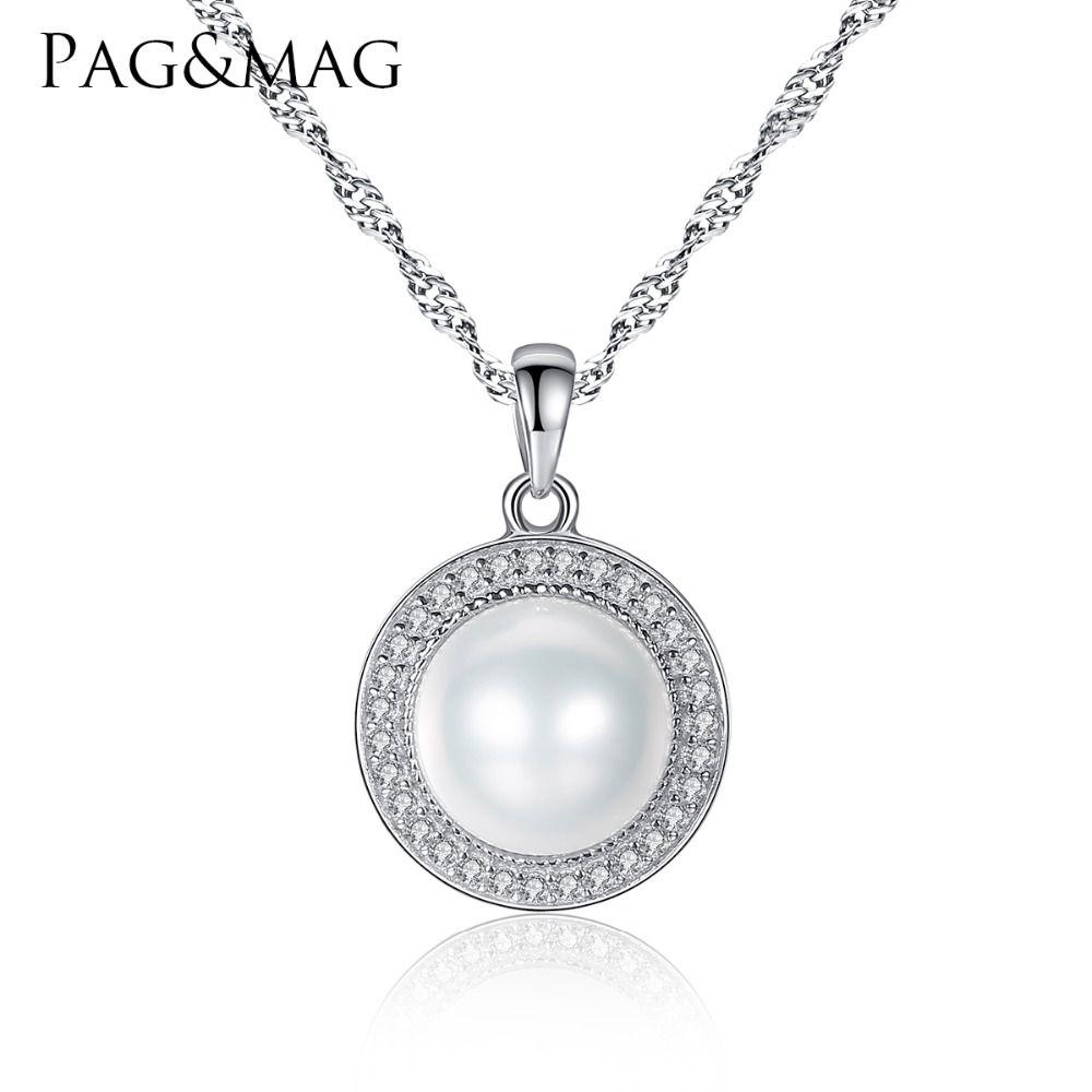 PAG et MAG Classique Ronde 925 En Argent Sterling Pendentif Collier avec 9-9.5mm Perles D'eau Douce Naturelle Perle Fine bijoux Hot001