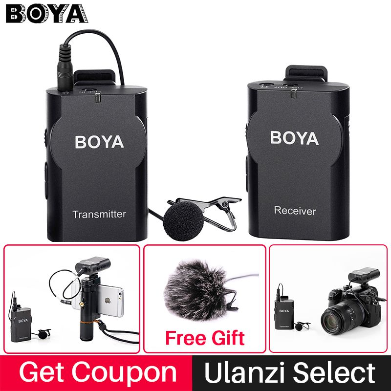 Boya BY-WM4 Professional Wireless Microphone System Lavalier Lapel Mic for Canon Nikon Sony DSLR Camcorder Recorder for iPhone 6