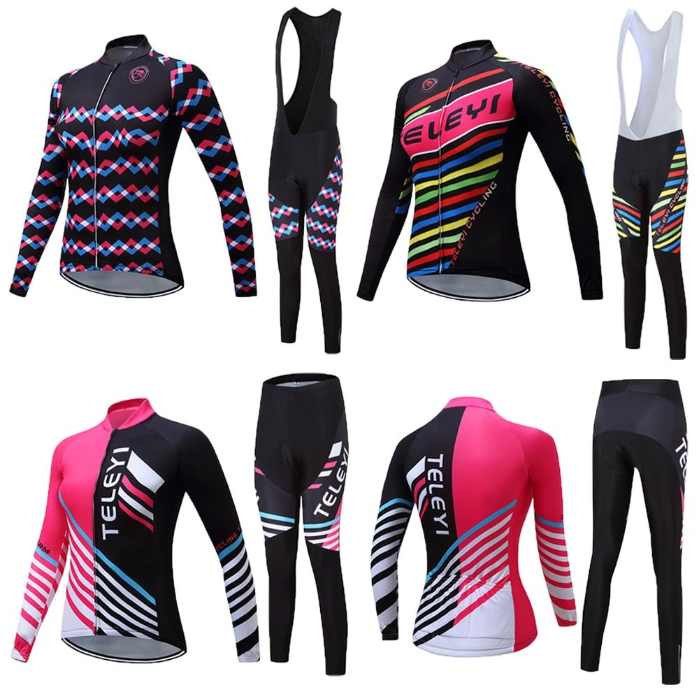 Women's cycling jersey set 2018 Pro cycling clothing Long sleeve China bike clothes maillot mtb bicycle clothing kit skinsuit