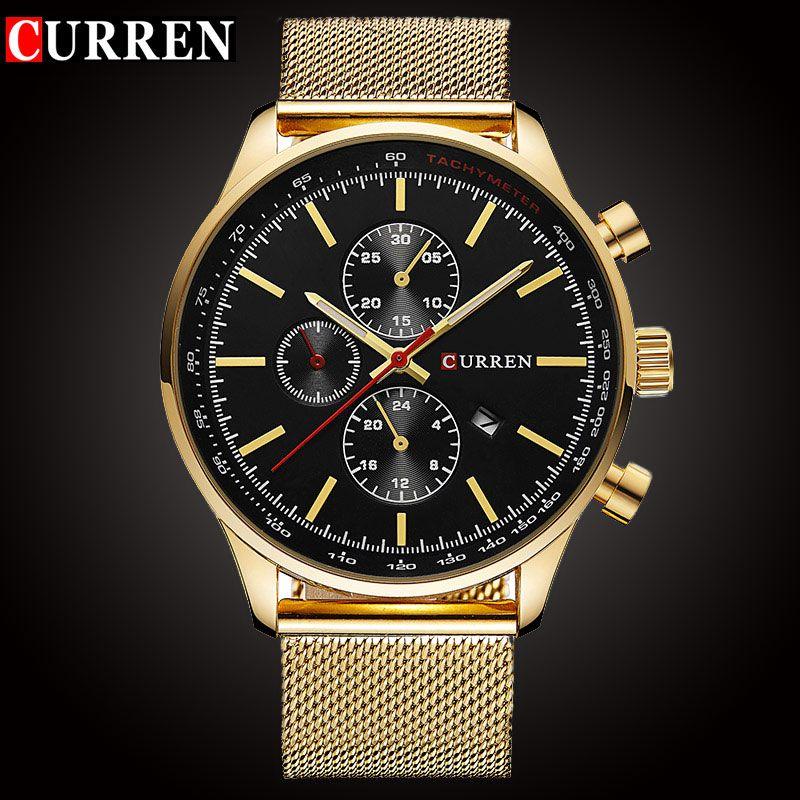 CURREN Luxury Brand Quartz Watch Men's Sport Casual Business Stainless <font><b>Steel</b></font> Mesh band Quartz-Watch Fashion Gold Clock male Date