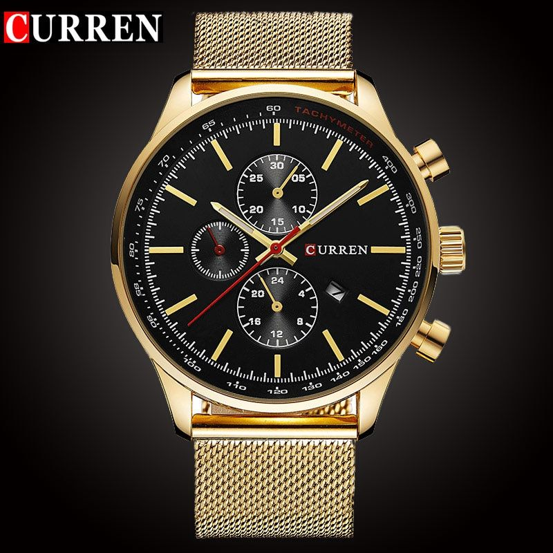 CURREN Luxury Brand Quartz Watch Men's Sport Casual <font><b>Business</b></font> Stainless Steel Mesh band Quartz-Watch Fashion Gold Clock male Date