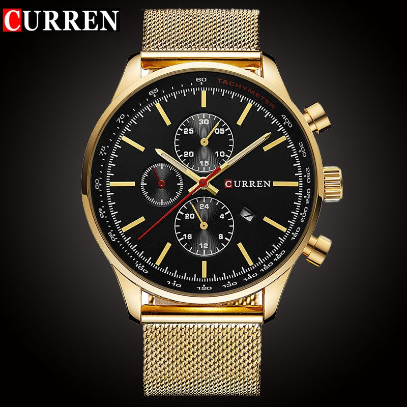CURREN Luxury Brand Quartz Watch Men's Sport <font><b>Casual</b></font> Business Stainless Steel Mesh band Quartz-Watch Fashion Gold Clock male Date