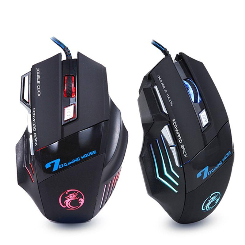Professionnel Filaire Gaming Mouse 7 Bouton 5500 DPI LED Optique USB Ordinateur Souris Gamer Souris X7 Jeu Souris Silencieux Mause pour PC