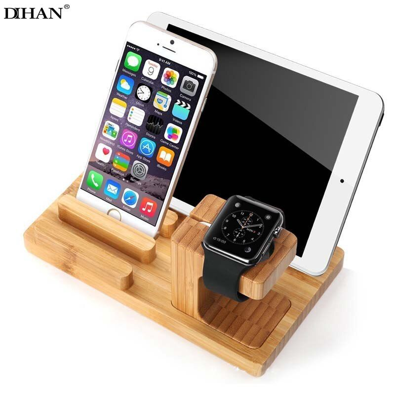 DIHAN Multi-function Wooden Charging Dock Station Desktop Mobile Phone Holder Stand Bamboo For Apple Watch iPhone iPad Bracket