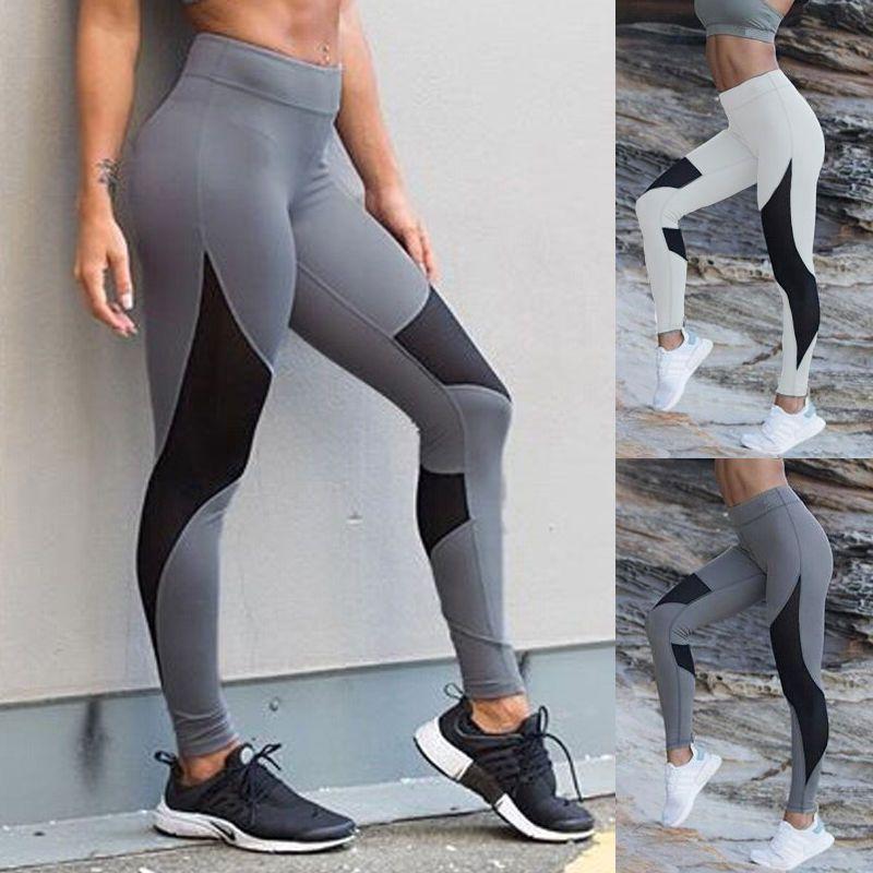 2017 Nueva Marca de Las Mujeres de Cintura Alta de Yoga Fitness Leggings Pantalones Stretch Gimnasio Correr Deportes Pantalones