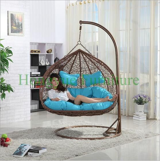 Rattan hammock chairs set furniture with cushions
