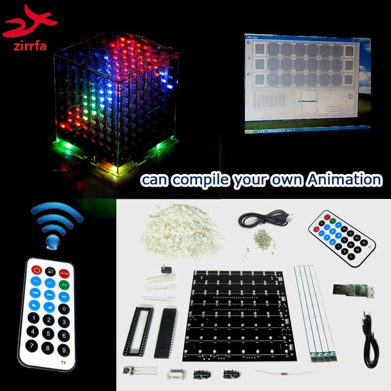 Mini lumière multicolore 3D 8 avec excellente animation/8x8x8 avec logiciel de démonstration pc LED spectre de musique, kit de bricolage électronique