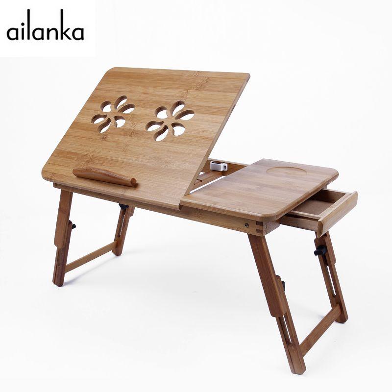 Складной ламинирование Портативный Регулируемый Классическая бамбук подставка для ноутбука с двойной кулер для Тетрадь на кровать 46