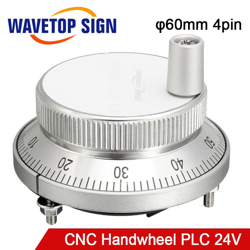 CNC electronic hand wheel handwheel Silver color diameter  60mm Pulse number 100  voltage  24v 4pins NPN/PNP MODLE