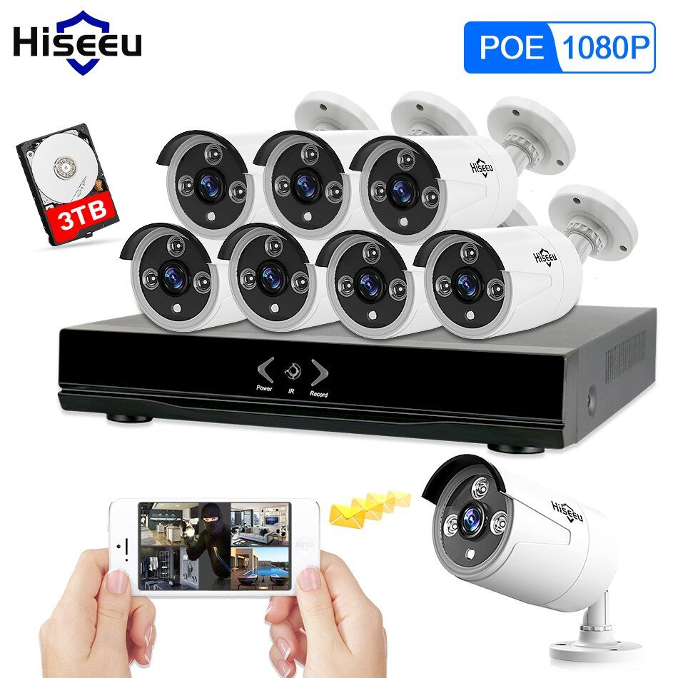 Full HD 8CH NVR 1080P POE 48V CCTV System Kit 2MP Indoor Outdoor IP Camera Waterproof IR P2P Video Security Surveillance Hiseeu
