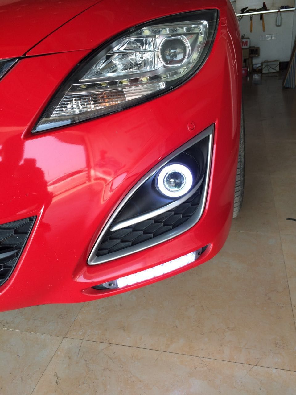 eOsuns COB angel eye led daytime running light DRL + Fog Light + Projector Lens for Mazda 6 Atenza 2010-2013 (GH) 2 generation