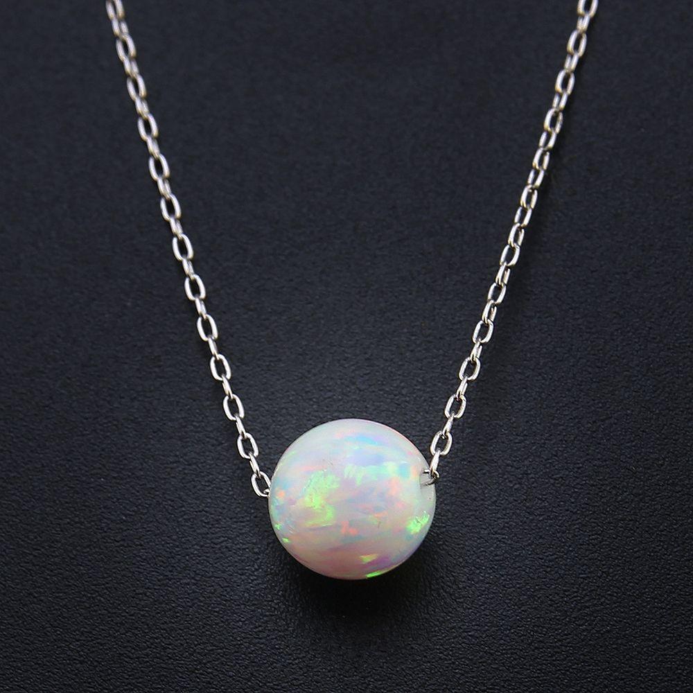 Perles rondes/boule opale pendentif Collier blanc opale de feu Collier Collier 925 en argent Sterling chaîne colliers femmes bijoux cadeaux