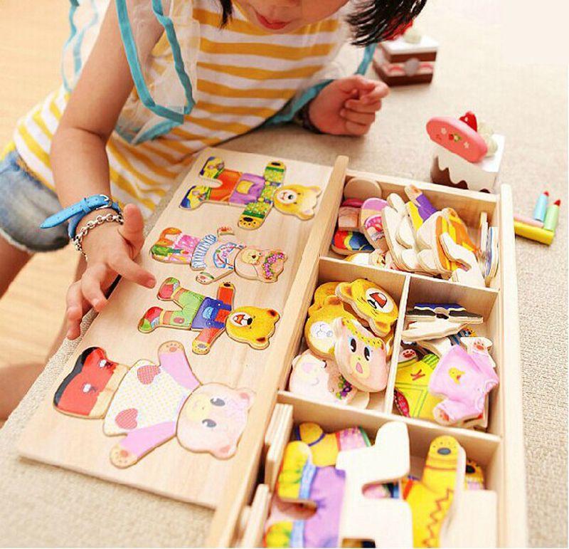 Peu de changement ours de vêtements Enfants éducation précoce En Bois jigsaw Puzzle jeu D'habillage Bébé En Bois Puzzle jouets livraison gratuite