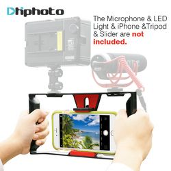 Ulanzi Smartphone Video Handle Rig Filmmaking Stabilizer Case Rig for movie youtube video Led Light & Rode VideoMicro microphone