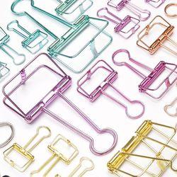 Novedad color sólido ahueca hacia fuera la carpeta del metal Clips notas papel de carta suministros de oficina FoD