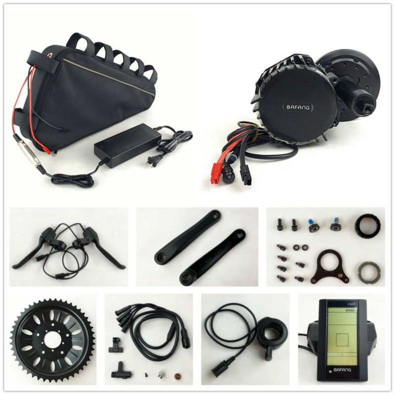 8fun 48V 1000W BBSHD Electric Bicycle BBS03 Bafang mid drive motor kits with 48V 20AH triangle battery for Electric Fat eBike