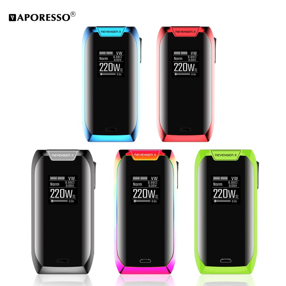 Original Vaporesso 220w Revenger X Mod Electronic Cigarette Box Mod fit NRG Tank NRG Mini Tank GT cCELL Coil with Touch Screen