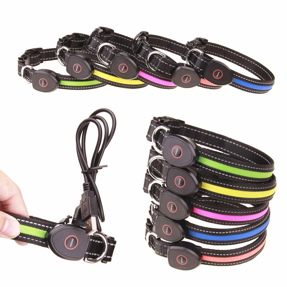 Hot Sale New LED Dog Collar USB Rechargeable For Pets Nylon Led Rechargeable Usb Adjustable Flashing Night Dog Collars Cat Neck