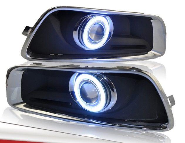 Eosuns инновационные УДАРА Ангел глаз светодиодные дневного света DRL + Галогенные Противотуманные фары + объектив проектора для Chevrolet Malibu 2012 -14